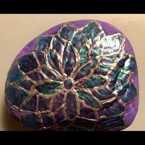 Painted Rock Handmade Floral with peacock colors